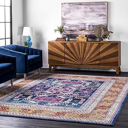 Amazon Com Nuloom Marisela Tribal Area Rug 8 X 10 Navy Furniture Decor