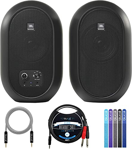 """high quality JBL lowest Professional 1 Series 104-BT Compact Reference Monitors with Bluetooth (Pair) Bundle with Blucoil 5-FT 3.5mm TRS to Dual 1/4"""" TS online sale Male Audio Cable, 5-FT Audio Cable and 5X of Reusable Cable Ties outlet sale"""