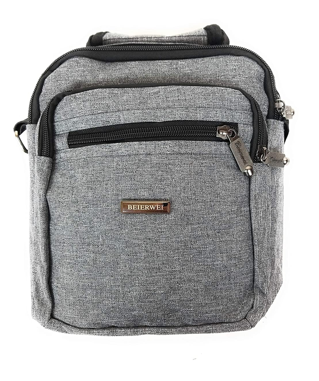 Canvas Messenger Sling Crossbody Bag Satchel Perfect for iPad Mini, Kindle, E-Readers Men Women Students (Grey)