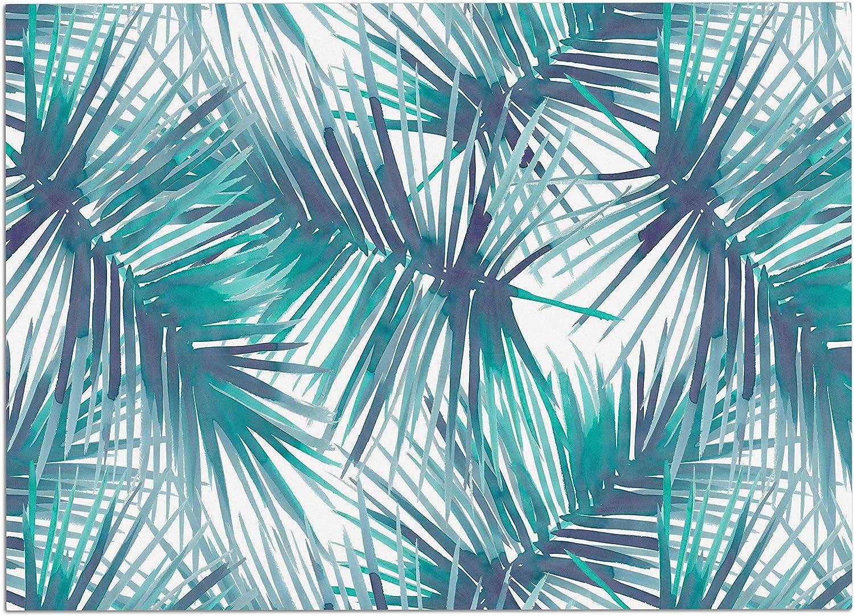 KESS InHouse DP1039ADM02 Danii Pollehn Palm Tree Branches bluee Green Illustration Dog Place Mat, 24  x 15