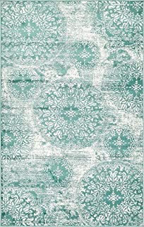 Unique Loom 3138688 Sofia Collection Traditional Vintage Beige Area Rug, 5' x 8' Rectangle, Turquoise