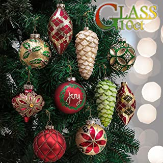 Valery Madelyn 10ct Country Road Glass Christmas Ball Ornaments Red Green Gold,Themed with Tree Skirt(Not Included)