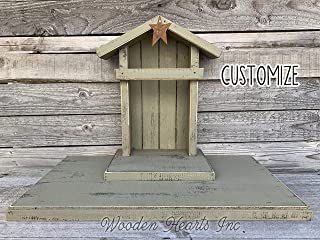 STABLE for a NATIVITY *Distressed REAL Wood Baby Manger Angel Stand Lighted Creche (Willow Tree Figurines not included) *Green Red Burgundy Brown White *No Assembly! *Handmade in USA