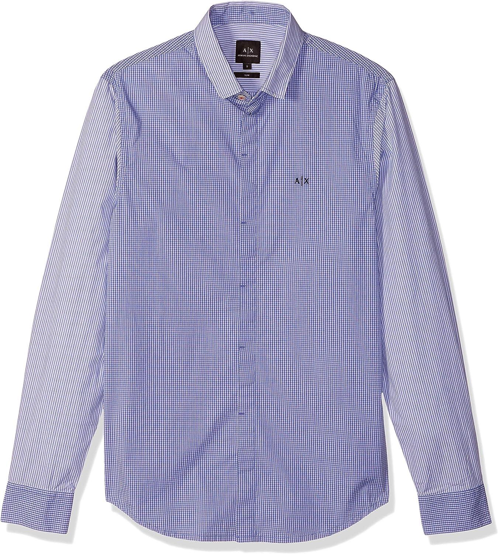 AX Armani Exchange Men's Mixed Stripe Long Sleeve Button Down Dress Shirt