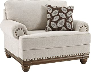 Signature Design by Ashley - Harleson Traditional Oversized Chair and a Half with Nailhead Trim, Wheat
