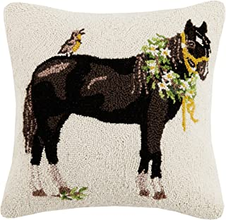 Mary Lake Thompson Black Horse Wreath Hook, 18x18 Throw Pillow