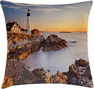 Ambesonne United States Throw Pillow Cushion Cover, Cape Elizabeth Maine River Portland Lighthouse Sunrise USA Coast Scenery, Decorative Square Accent Pillow Case, 18