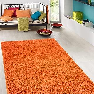 Ottomanson Soft Cozy Color Solid Shag Area Rug Contemporary Living and Bedroom Soft Shag Area Rug, Orange, 5'3