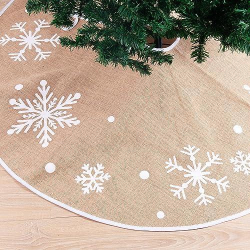 "Christmas Tree Skirt with Snowflakes, 48"" Rustic Tree Skirt Decoration for Xmas Home Holiday Seasonal Decors"