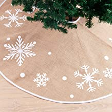 "Christmas Tree Skirt with Snowflakes, 48"" Rustic Tree Skirt Decoration for Xmas Home Holiday Seasonal Decors"
