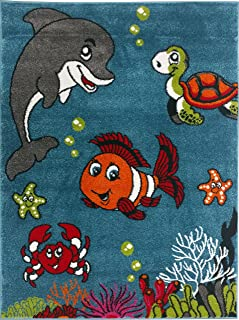 "KC CUBS Boy and Girl Bedroom Modern Decor Pink Blue White Area Rug and Carpet Collection for Kids and Children (5' 3"" x 7' 3"", Clown Fish & Sea School Friends)"