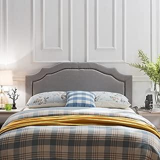 Christopher Knight Home 298485 Bellagio Fabric Queen/Full Headboard, Light Grey