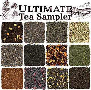 Solstice Loose Leaf Tea Ultimate Sampler Feat. 12 Teas; Sencha & Gunpowder Green Tea, Masala Chai Black Tea, Rooibos Herba...