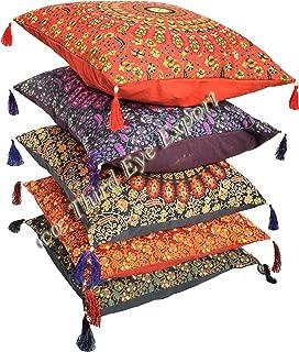 Third Eye Export 16X16 Indian Ethnic Mandala Peacock Bohemian Set of 5 Decorative Colorful Cotton Square For Sofa Set Home Decorative Boho Throw Pillow Case Cushion Cover