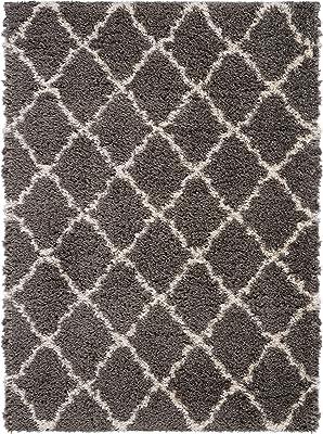 Nourison Ultra Shag Charcoal Grey Plush Area Rug 5' x 7', 5'X7', Beige