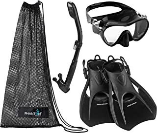 Phantom Aquatics Italian Design Tempered Glass Lens Frameless Scuba Snorkeling Mask - Adjustable Strap Snorkel Fin - Mask Fin Snorkel Set