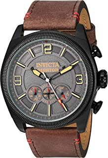 Men's Aviator Stainless Steel Quartz Watch with Leather-Calfskin Strap, Brown, 26 (Model: 22988)