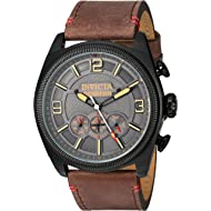 Invicta Men's Aviator Stainless Steel Quartz Watch with Leather-Calfskin Strap, Brown, 26 (Model:...