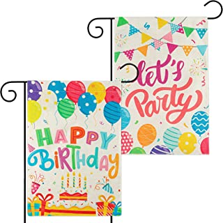 WATINC 2Pcs Happy Birthday Garden Flags Let's Party Burlap Yard Signs Vertical Double Sided Readable Birthday Cake Banner ...