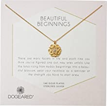 Dogeared Women's Beautiful Beginnings, Detailed Lotus Charm with Crystal Inset Necklace