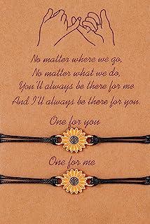 Pinky Pomise Distance Matching Bracelets for Best Friends Couple Family Women Mens Teen Girls Sunflower Boho Bracelet Frie...