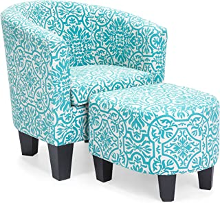 Best Choice Products Linen Upholstered Modern Contemporary Barrel Accent Chair Furniture Set w/Matching Ottoman and Birch Wood Legs, Teal Floral Print