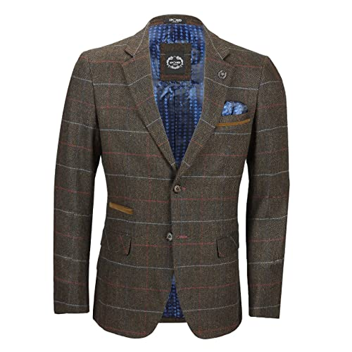 39115a9e9 Xposed Mens 3 Piece Earth Brown Check Herringbone Suit Sold as Tailored  Separates Blazer Waistcoat Trouser