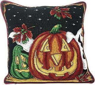 DaDa Bedding Throw Pillow Covers - Set of 2 Halloween Jack-o'-Lantern Ghosts Pumpkins Tapestry - Orange Black Autumn Cushion Cases - 16