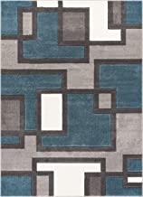 Uptown Squares Blue & Grey Modern Geometric Comfy Casual Hand Carved Area Rug 8x10 8x11 ( 7'10