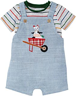 Mud Pie baby-boys Cow Ticking Overall Set