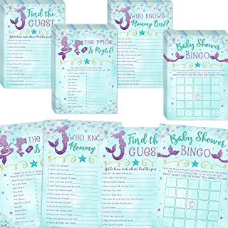 Mermaid Baby Shower Games, Bingo, Find The Guest, The Price Is Right, Who Knows Mommy Best, 25 games each