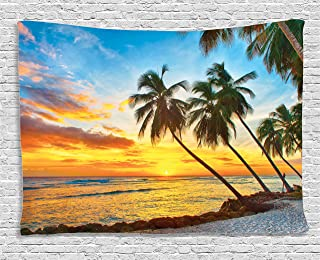 Ambesonne Ocean Decor Collection, Fairy Sunset over the Sea with the Palms on the Beach at a Caribbean Island in Barbados Horizon, Bedroom Living Room Dorm Wall Hanging Tapestry, 60W X 40L Inch, Multi