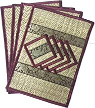 Thailand handmade reed and Silk elephent placemats coasters Plate mat Coasters Drink Dining Room Tables set of 4 size (9.5: x 14