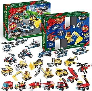 JOYIN Christmas Advent Calendar 24 Vehicle Building Blocks Count Down Toys Set