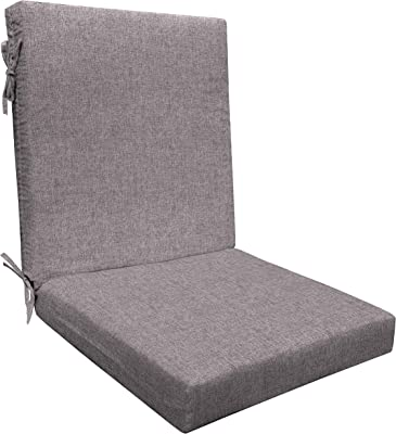 Amazon Com Honeycomb Indoor Outdoor Pewter Solid Highback Dining Chair Cushion Recycled Polyester Fill Weather Resistant Patio Cushions 21 W X 43 L X 4 T Garden Outdoor
