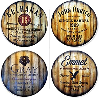 Personalized Round Table Top, Size 24 or 30 inches, Handmade Custom Artwork on Distressed Wood, Inspired by Antique Whiskey Beer & Wine Barrels, Patio Living Room Bar Furniture