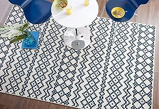 Mohawk Home Woodbridge Aztec Bands Denim Geometric Printed Area Rug, 5'x8', Blue
