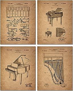 Piano Patent Art Prints - Set of 4 Photos - Vintage Steinway Decor