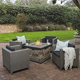 Christopher Knight Home 300390 Livingston Outdoor 4 Piece Club Chair Set w/Water Resistant Cushions & Stone Fire, Stone