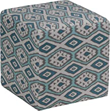 Cortesi Home Braque Cube Ottoman in Blue Linen Ikat Print Fabric