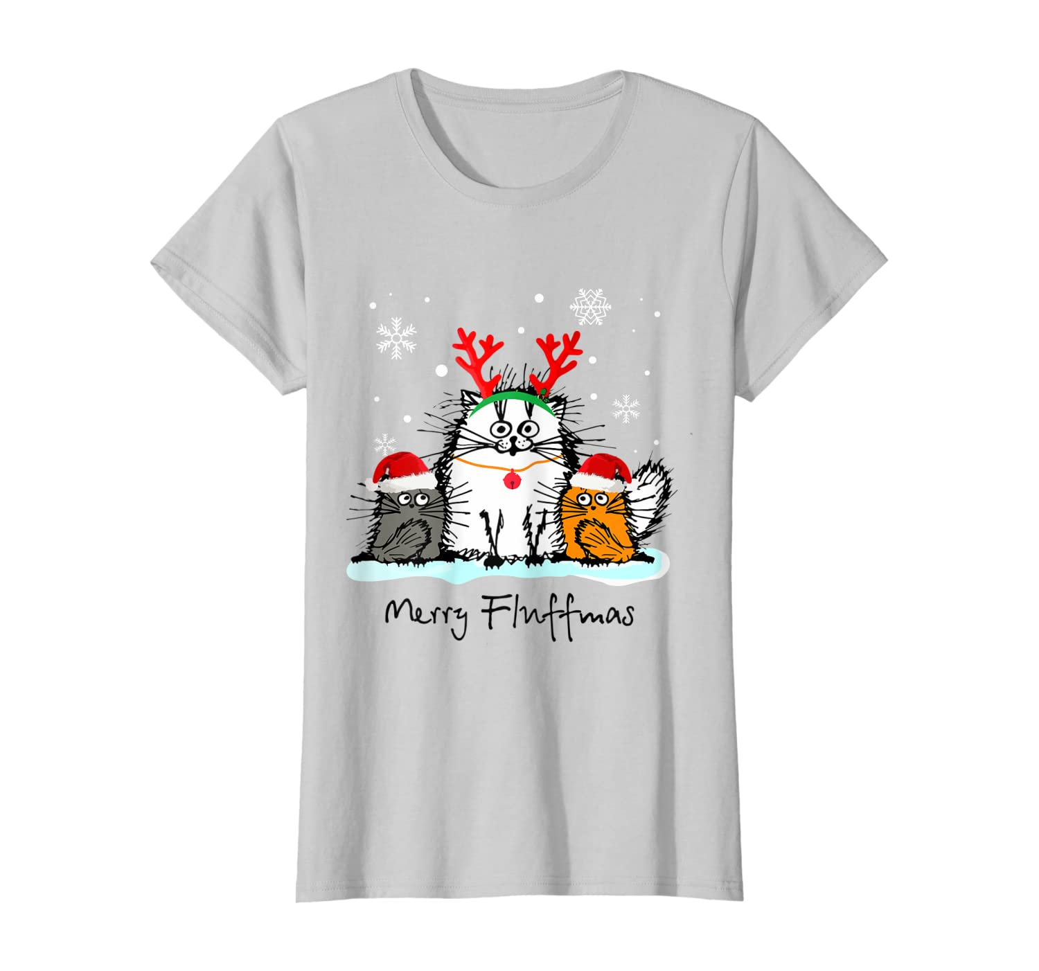 Merry Fluffmas Funny Cat Lover Christmas Gift T-Shirt