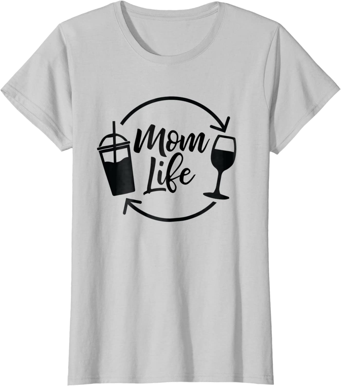 Mom Gift For Her Coffee Wine /& Amazon Prime Shirt Mom T Shirt Wife Christmas Gift Funny Mom Tee Mom Tee Shirt Mom Life Shirt