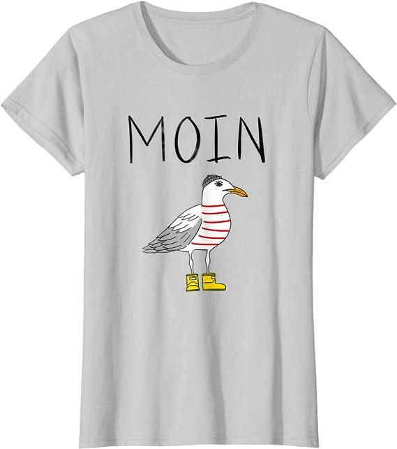 Moin Löppt Spruch Möwe Meer Lustig Geschenk Norden Digga See T Shirt Bekleidung