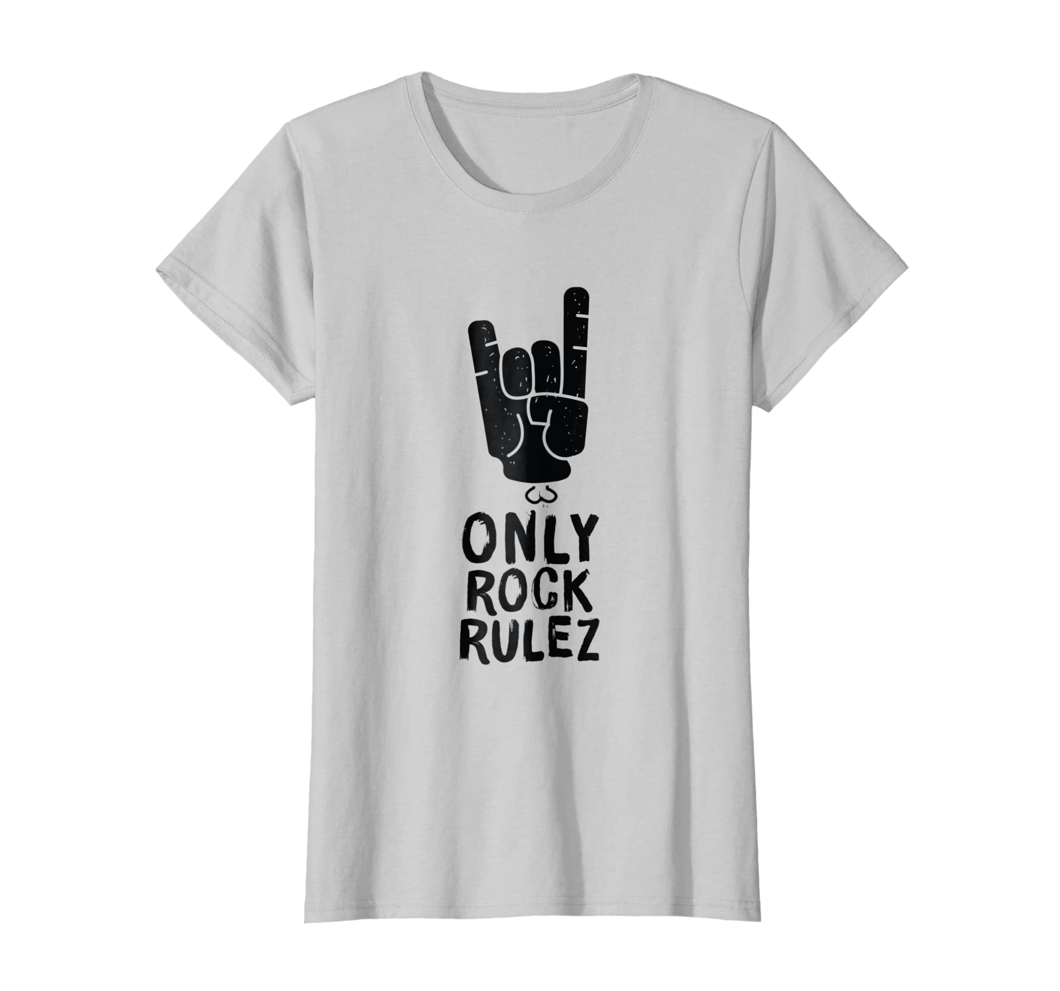 Amazon Only Rock Rulez Cool T Shirt Design Quote About Music