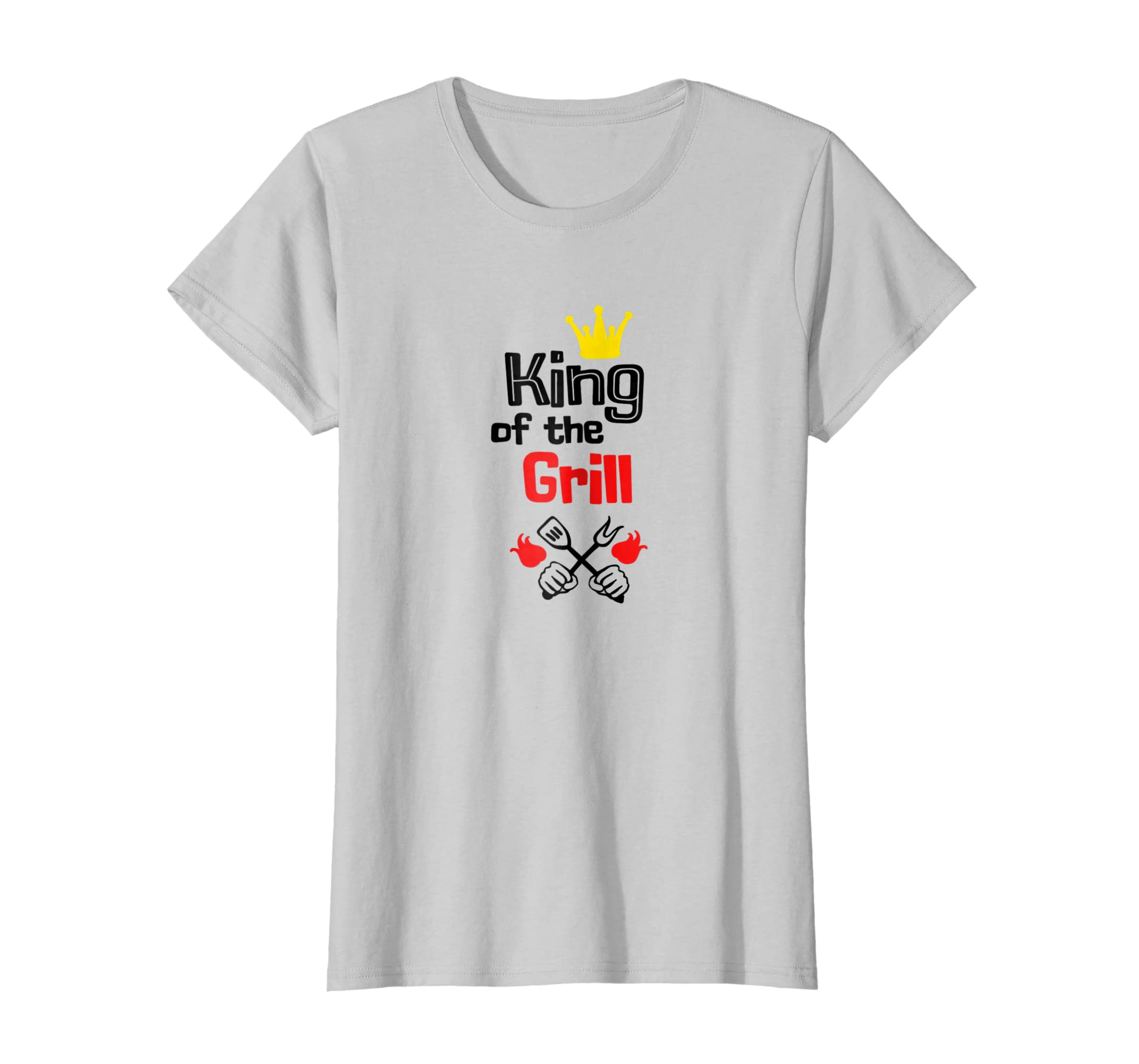 52e419c1 Amazon.com: Funny BBQ T Shirt King Of The Grill Barbecue Dads Gift: Clothing