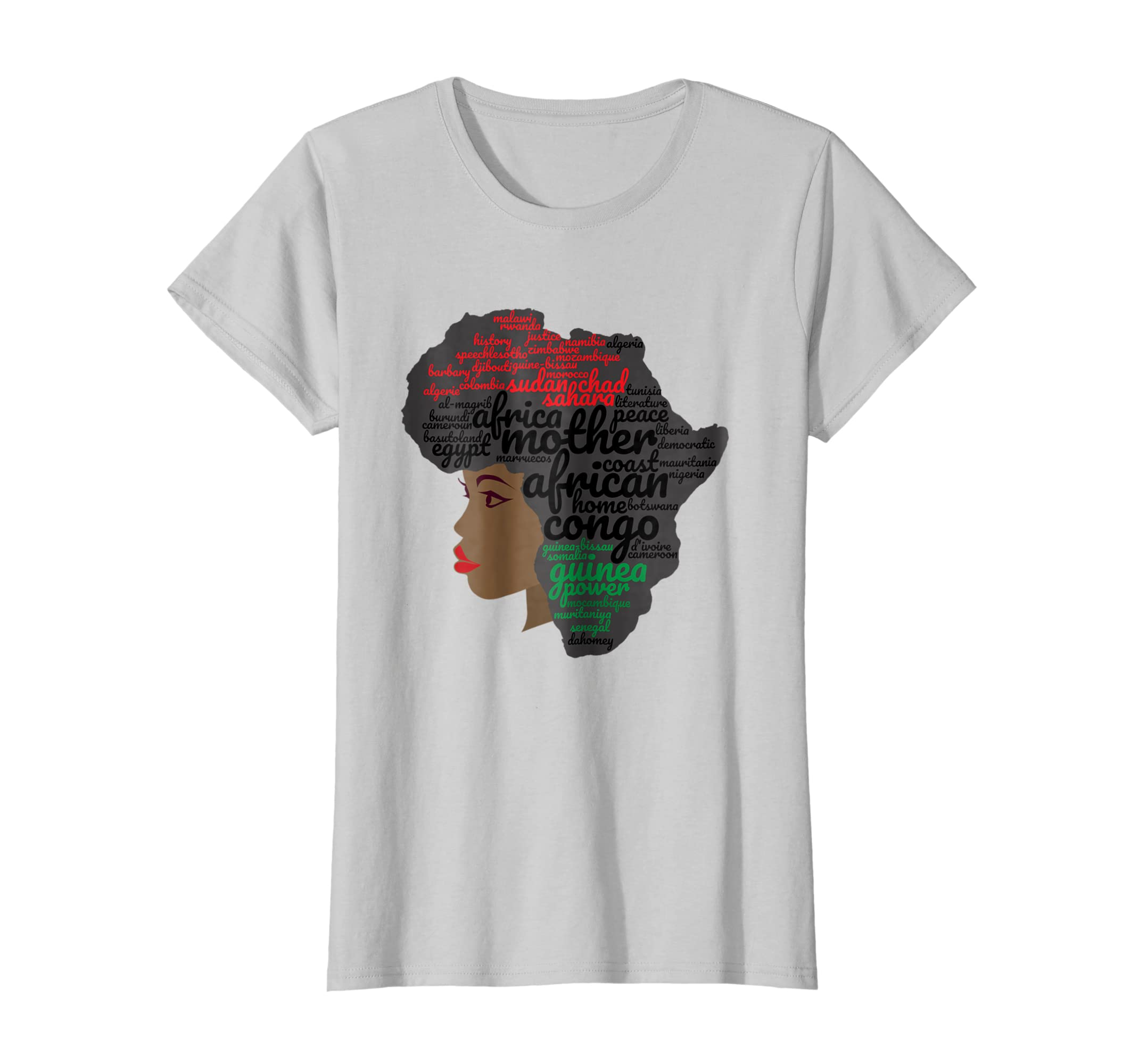 32b4e730a Amazon.com: Afro Word Art Natural Hair T-Shirt for Black Women: Clothing