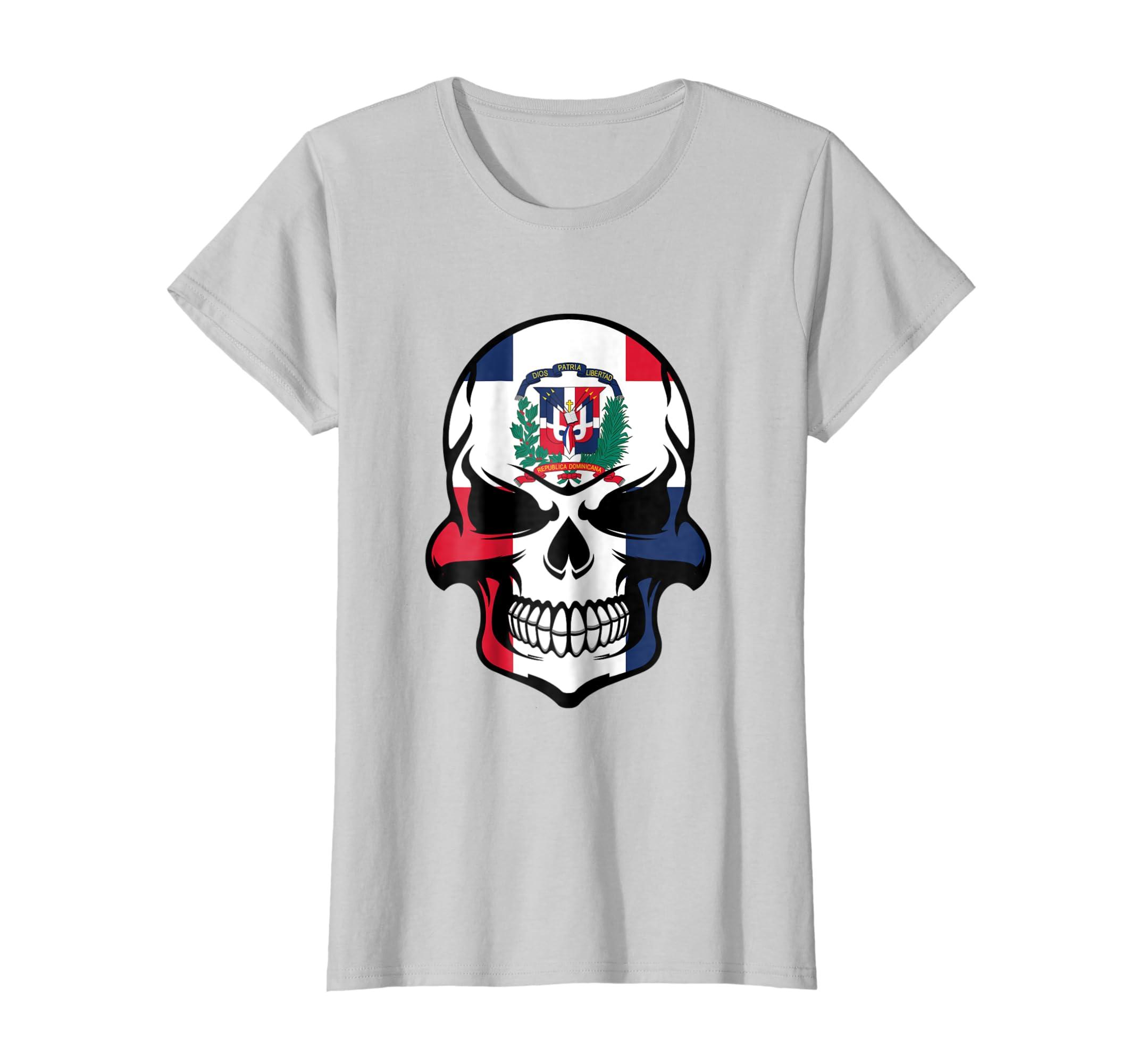ee4dcfde Amazon.com: Dominican Flag Skull Cool Dominican Republic Skull T-Shirt:  Clothing