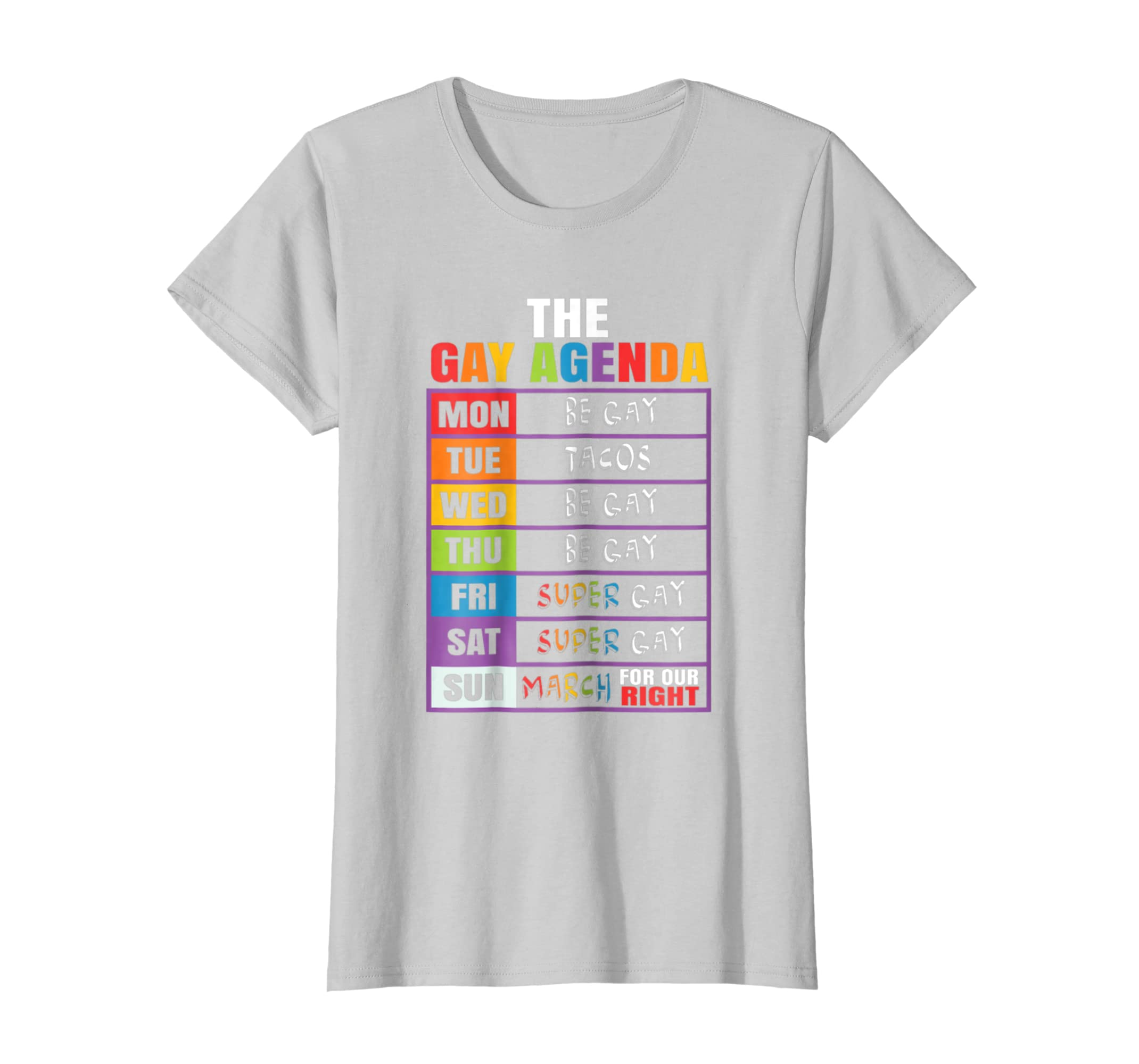 Amazon.com: LGBT the gay agenda mon be gay tue tacos wed be ...
