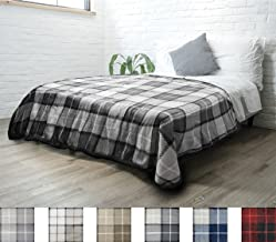 PAVILIA Premium Plaid Sherpa Fleece Bed Blanket Twin Size   Super Soft, Cozy, Plush, Lightweight Microfiber, Reversible Bed Blanket for Couch, Sofa, Bed, All Season (Charcoal Grey, 60 x 80 Inches)