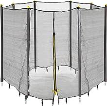 Relaxdays Unisex jeugd trampoline net, vangnet voor tuintrampoline, met 8 gevoerde stangen, veiligheidsnet, Ø 366 cm, zwart